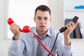 Overextended with the phone — Stock Photo