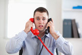 Stressed with the phone — Stock Photo