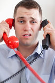 Close up overextended with the telephone — Stock Photo