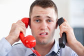 Close up overextended with the phone — Stock Photo