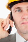 Close up of a young architect making a phone call — Stock Photo