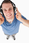 Portrait of a handsome man listening to music — Stok fotoğraf