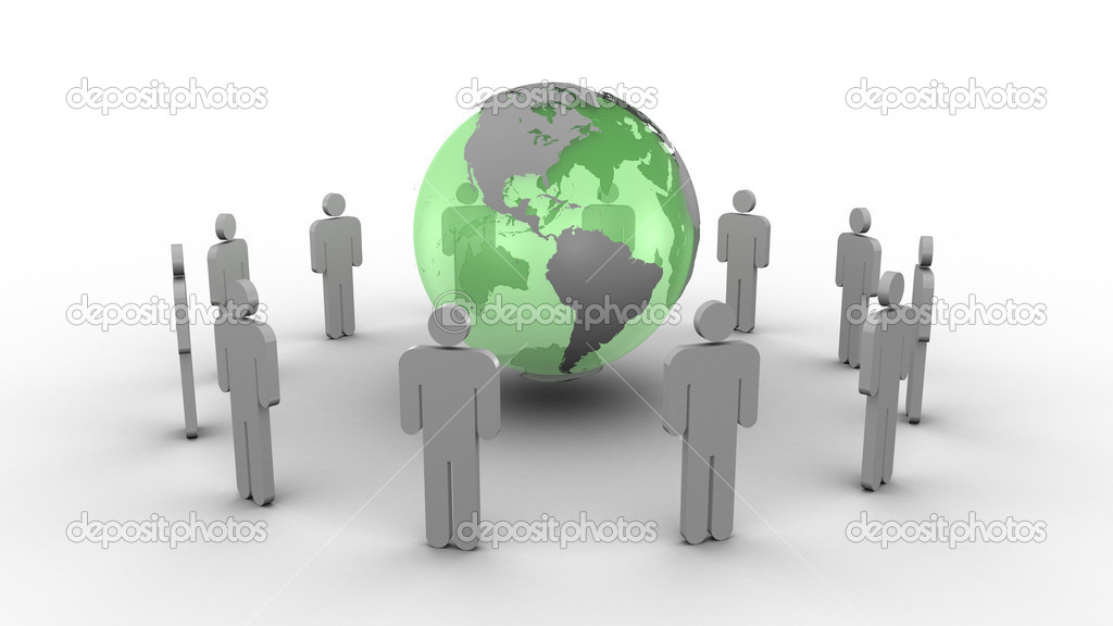 Green earth surrounded by men — Stock Photo #11195824