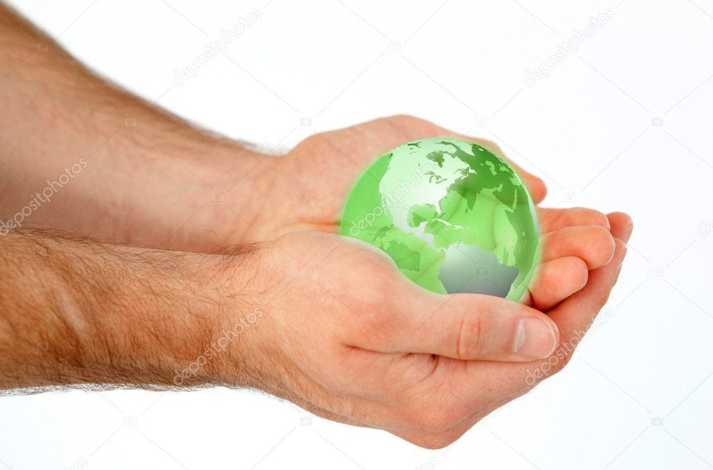 Masculine hands holding a 3d planet globe against a white background — Stock Photo #11197321