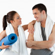 Healthy couple going to practice yoga — Stock Photo #11200963