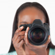 Close up of young female photographer — Stock Photo