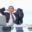Satisfied businessman relaxing — Stock Photo