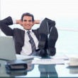 Happy businessman relaxing — Stock Photo