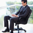 Portrait of a businessman sitting on an armchair working with a — Stock Photo