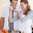 Couple having fun cooking together — Stock Photo