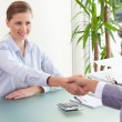Consultant shaking hands with her client — Stock Photo #11205299