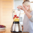 Side view of blender getting filled — Stock Photo