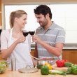 Lovely couple drinking glass of wine — Stock Photo #11206124