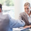 Manager interviewing a male applicant — Stock Photo #11206334