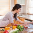 Woman looking for a recipe on the internet — Stock Photo #11206648