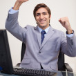 Businessmraising his fists in success — Stock Photo #11207706