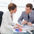 Business team talking about market research — Stock Photo