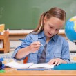 Stock Photo: Smiling schoolgirl doing classwork