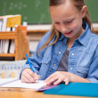 Portrait of a schoolgirl writing — Stockfoto