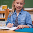Stock Photo: Portrait of smiling schoolgirl writing