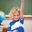 Portrait of a schoolboy raising his hand — Stock Photo