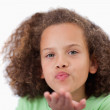 Close up of girl blowing kiss — Stock Photo #11209154