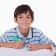 Happy boy drawing — Stock Photo #11209228
