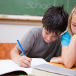 Serious pupils working together — Stock Photo #11209466