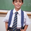 Portrait of a smiling schoolboy with a backpack — Stock Photo
