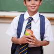 Portrait of a schoolboy holding an apple — Stock Photo