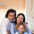 Happy smiling family together in the kitchen — Stock Photo