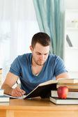 Student working through subject materials — Stock Photo