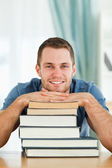 Student with his subject material — Stock Photo