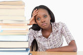 Tired student day dreaming — Stock Photo