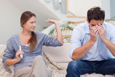 Man being tired of arguing with his wife — Stock Photo