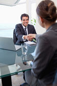 Portrait of a manager interviewing a female applicant — Stock Photo