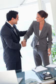 Business partner shaking hands after closing a deal — Foto de Stock