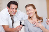 Happy couple just got engaged — Stock Photo