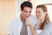 Happy couple enjoys cooking together — Stock Photo