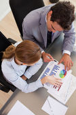 Above view of business analyzing data — Stock Photo