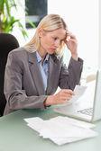 Businesswoman doing accounting — Stock Photo