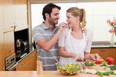 Lovely couple cooking — Stock Photo