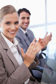 Portrait of a business team applauding — Stock Photo