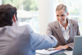 Manager interviewing a male applicant — Foto de Stock