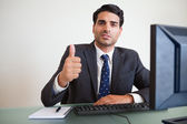 Businessman with the thumb up — Stock Photo