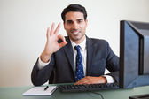 Businessman showing everything is perfect — Stock Photo