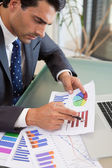 Portrait of a young sales person studying statistics — Stock Photo