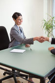 Portrait of a manager shaking the hand of a customer — Stock Photo