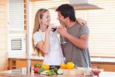 Lovely couple drinking wine — Fotografia Stock