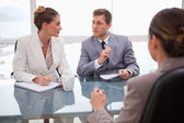 Business team deliberating with lawyer — Stock Photo
